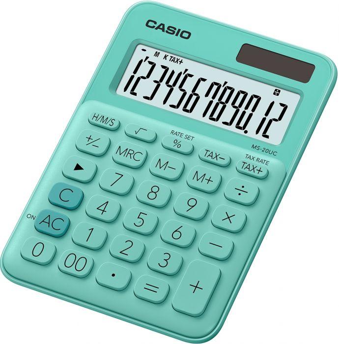 Lauakalkulaator Casio MS-20UC-Green - 12 kohaline, tava- ja päikesepatarei, 110gr, 23x106x150mm, Casio loogika