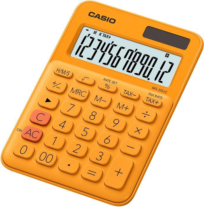 Lauakalkulaator Casio MS-20UC-Orange - 12 kohaline, tava- ja päikesepatarei, 110gr, 23x106x150mm, Casio loogika