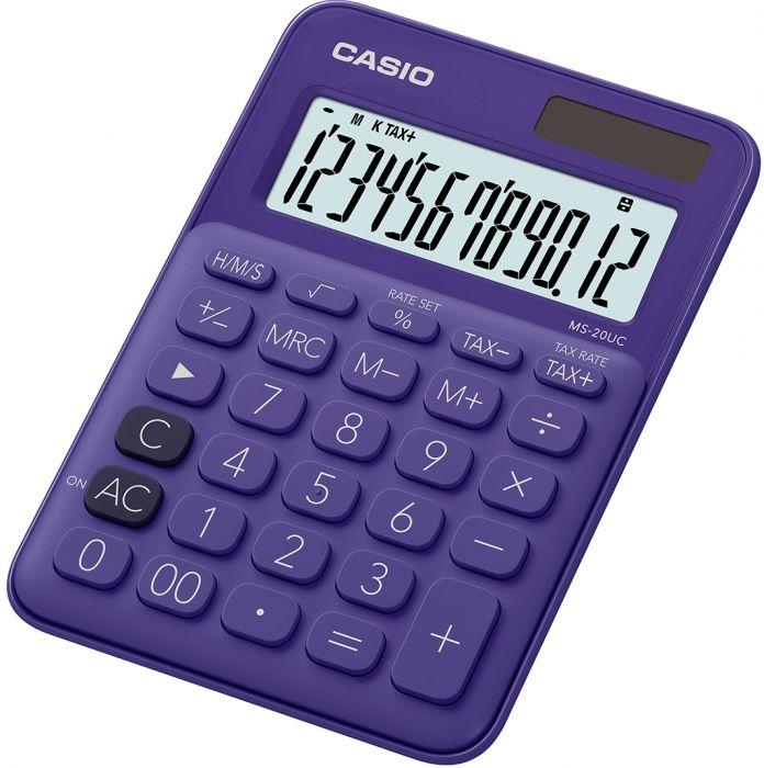 Lauakalkulaator Casio MS-20UC-Purple - 12 kohaline, tava- ja päikesepatarei, 110gr, 23x106x150mm, Casio loogika
