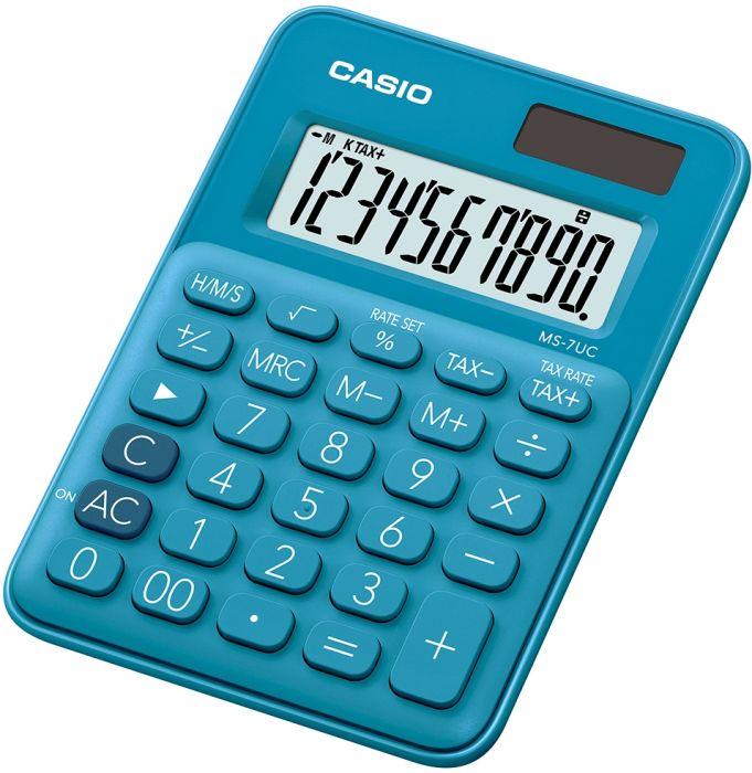 Lauakalkulaator Casio MS-7UC Blue/sinine - 10-kohaline, tava- ja päikesepatarei, 70gr, 19x86x120mm, Casio loogika