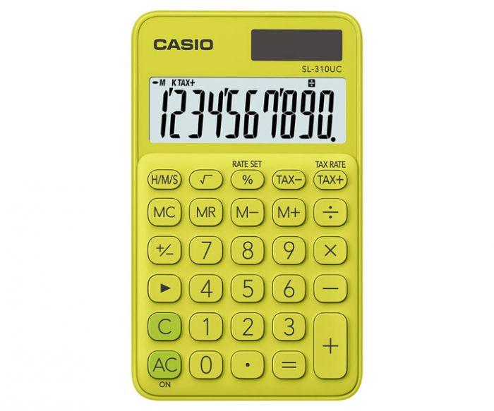 Taskukalkulaator Casio SL-310UC YellowGreen/kollane - 10 kohaline, tava- ja päikesepatarei, 50gr, 8x70x118mm, kaasas ümbris, Casio loogika