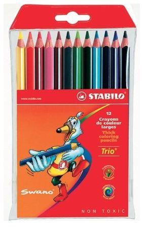 Värvipliiats Stabilo Trio, 12 värvi pakis, kolmekandiline