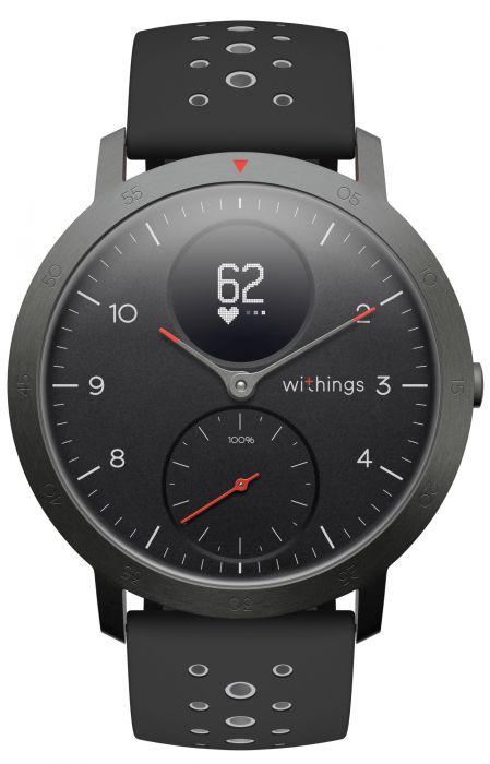 Withings Steel HR Sport (40mm) OLED, 39 g, Black, Bluetooth, Built-in pedometer, Heart rate monitor, GPS (satellite), Waterproof