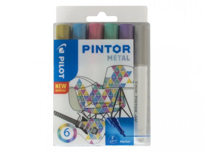 Marker Pilot Pintor , FINE 1-2,9mm, koonus ots, metallik 6värvi/kompl,veebaasil