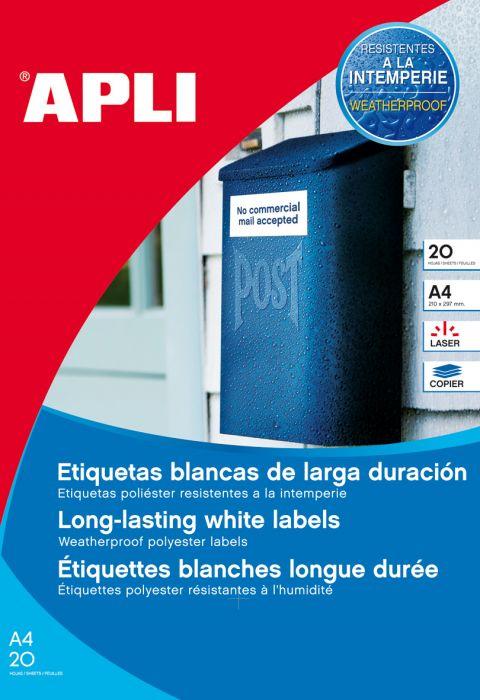 Etikett APLI 45,7x21,2 Ref.12112 , valge polüster ,20lehte/pk, ilmastikukondel , eritel