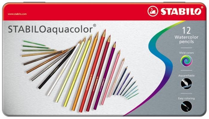 Akvarellpliiats metallkarbis Stabilo aquacolor, 12 värvi