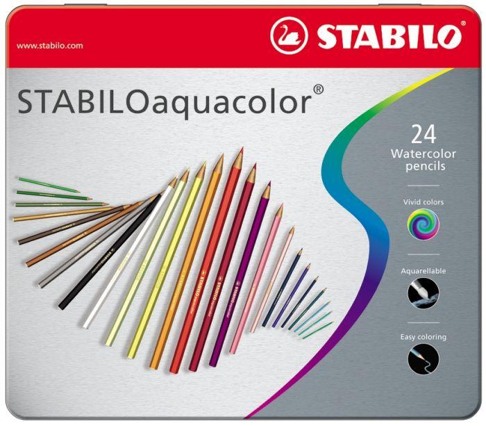 Akvarellpliiats metallkarbis Stabilo aquacolor , 24värvi,