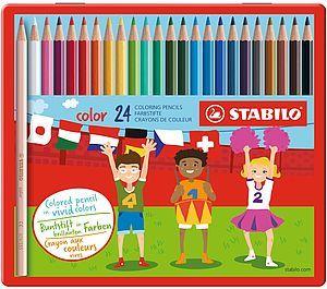 Värvipliiats Stabilo Swano metallkarbis ,24 värvi