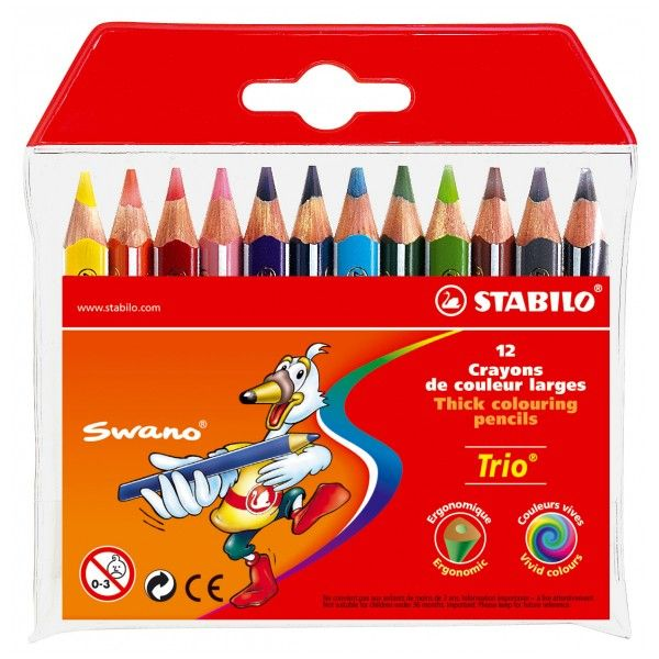 Värvipliiats Stabilo Trio Mini, 12 värvi pakis, kolmekandiline