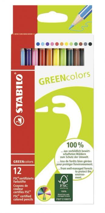 Värvipliiats Stabilo GREEN colors, 12 värvi