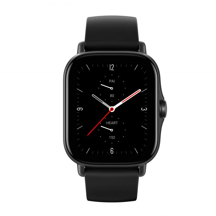 Amazfit GTS 2 Smart watch, GPS (satellite), AMOLED, Touchscreen, Heart rate monitor, Activity monitoring 24/7, Waterproof, Bluetooth,  Aluminum alloy, Midnight Black