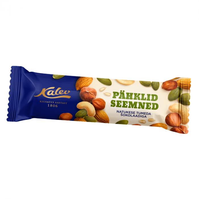 Pähkli-seemnebatoon tumeda shokolaadiga 42g, Kalev