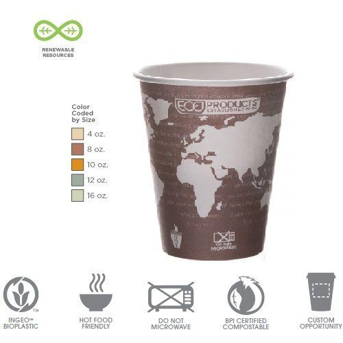Kohvitops WA komposteeritav 235ml (8oz) 50tk/pk