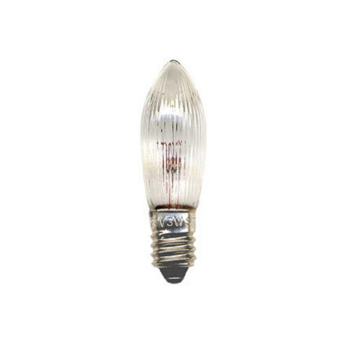 Varupirnid küünlajalale E10 34V 3W, läbipaistev 20/400/ 7 tk