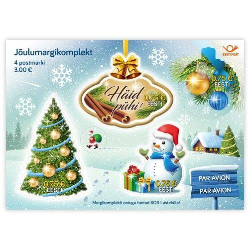 K0067473_1_Postmark_komplekt_Joulud_nominaal_3_eur__4x075eur_postmarki_PAR_AVION_kleepsud_kaunistuskleepsud