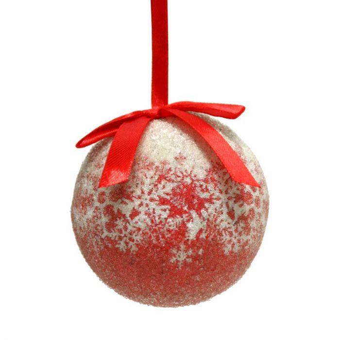 Jõuluehe OLD STYLE, 8cm, lumehelbed/ punane-valge, 1 tk