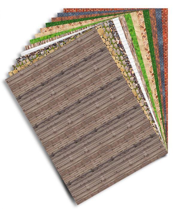 Käsitööpaber ja -kartong, pildid pinnatekstuuridest, 80g ja 270g, 26 lehte