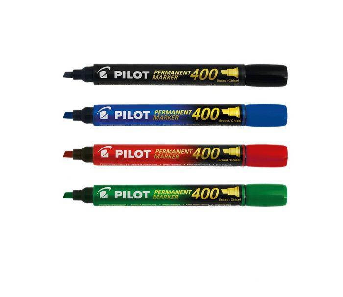 Marker permanent Pilot 400 - FINE 4 mm lõigatud otsaga -4 värvi/kompl
