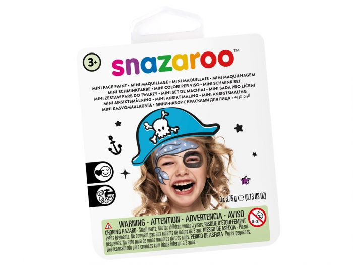 Näovärvide komplekt Blue Pirate Snazaroo mini 3värvi+pntsel+svamm