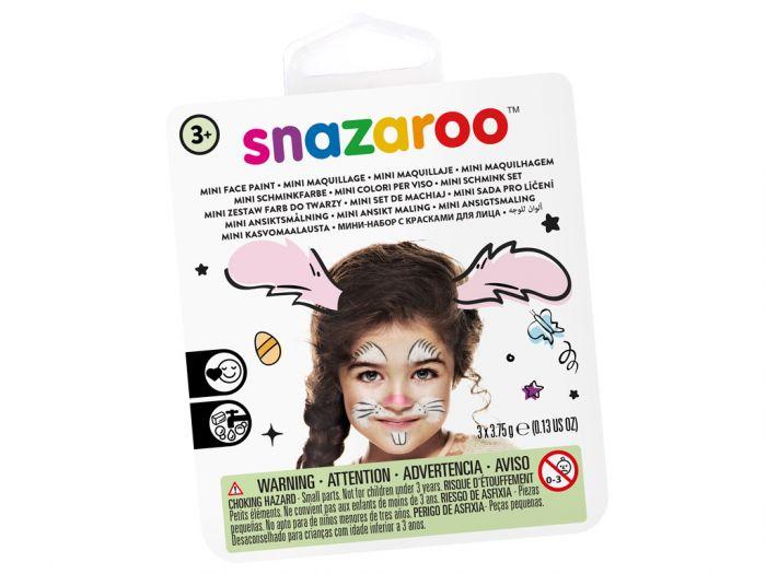 Näovärvide komplekt Bunny Snazaroo mini 3värvi+pntsel+svamm