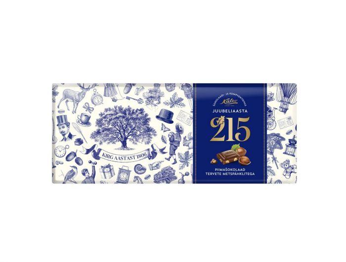 Piimashokolaad tervete metspähklitega 215 juubeliaasta, KALEV, 200g