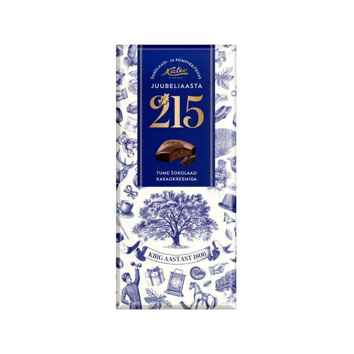Tume shokolaad kakaokreemiga 215 juubeliaasta, KALEV, 98g