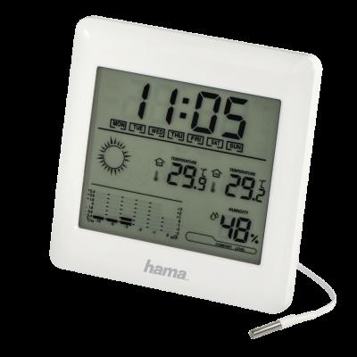 Termomeeter-hügromeeter Hama EWSC-100 Lauapealne või seinale paigaldatav, Kell, ilmaennustus, välistemperatuuri sensor, toide 3xAAA
