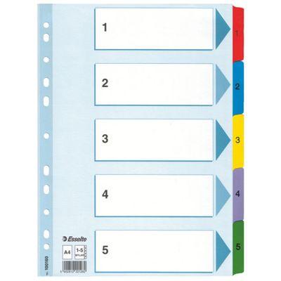 Registrilehed 1-5 värviliste numbritega, kartong, Esselte