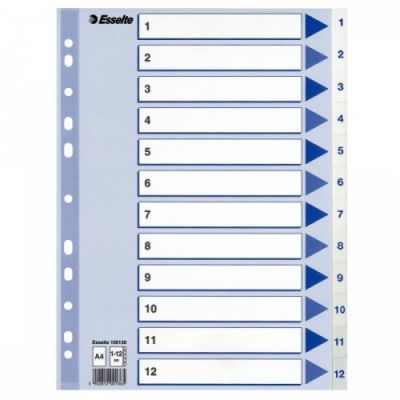Registrilehed 1-12 plastik, valge, Esselte