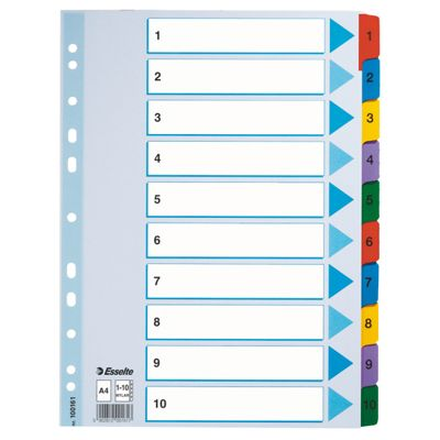 Registrilehed 1-10 värviliste numbritega, kartong, Esselte