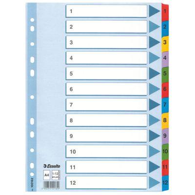 Registrilehed 1-12 värviliste numbritega, kartong, Esselte