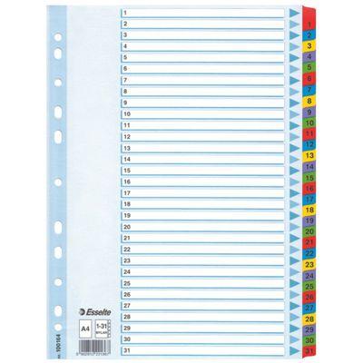 Registrilehed 1-31 värviliste numbritega, kartong, Esselte