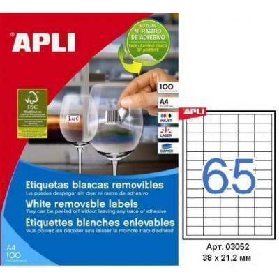 Etikett APLI 38x21,2 eemaldatav, 100 lehte/pk.