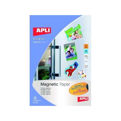 Etikett magnetpaber APLI Magnetic paper 640g, 8lehte Inkjet A4 fotopaber