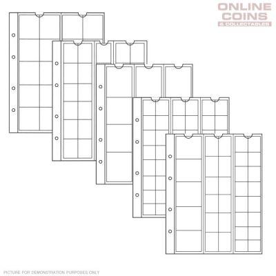 Vaheleht müntidele NUMIS SORT 338347 erinevad mõõdud 17/25/34/44mm, 5lehte pakis, valge taust, Leuchtturm