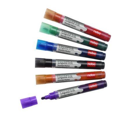 Tahvlimarker NOBO Liquid Ink Whiteboard Marker Assorted (pakis 6 eri värvi) (valgetahvlile, lehetahvlile, grafokilele)