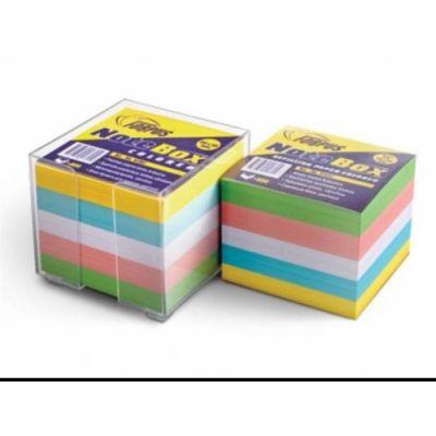 Märkmepaberi karp 9x9x9 cm + värviline paber