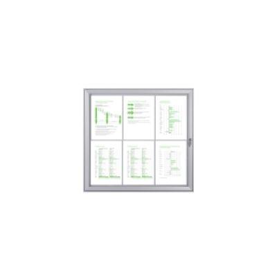 Infokapp 6xA4 siseruumi, lukustatav pl. klaasuks, välismõõdud L-711x655x26mm/ valge met.taust, alum. S profiil