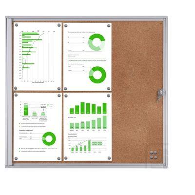 Infokapp 6xA4 siseruumi, lukustatav pl. klaasuks, välismõõdud L-711x655x26mm/ korgist taust, alum. S profiil