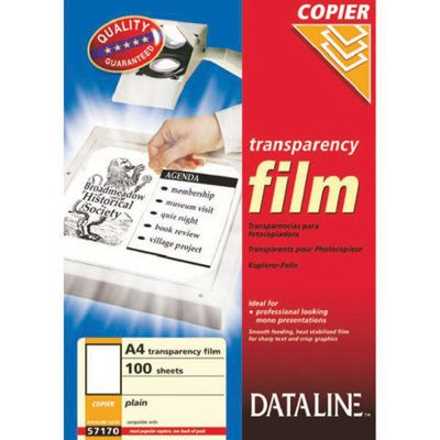 Grafokile Esselte Dataline 57170/172 koopiamasinale, 100 kile pakis A4 Transparency Film Black & White Copiers, 100mic