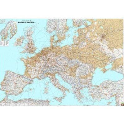 Seinakaart lamineerimata -Euroopa füüsiline 1:3,5mln,  autokaart, metall-liistuga