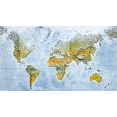 Seinakaart  lamineerimata  -Maailma füüsiline 1:35mln, 1200x840mm, meresügavustega