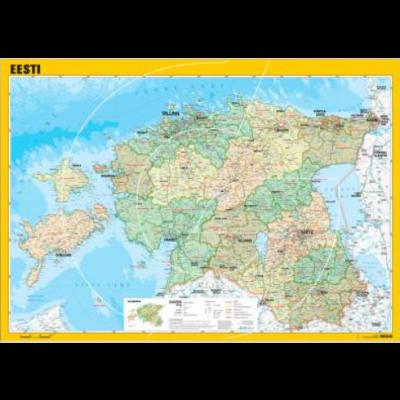 Seinakaart lamineeritud -Eesti haldusjaotus1:400 000, 990x700mm