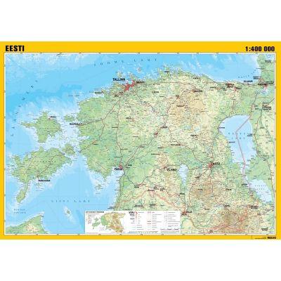 Seinakaart lamineeritud -Eesti üldgeograafiline 1:400 000, 990x700mm