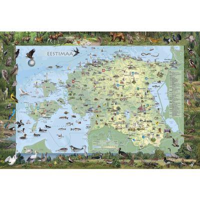 Seinakaart lamineeritud -Eestimaa piltkaart väike 990x690mm, riputusaasaga
