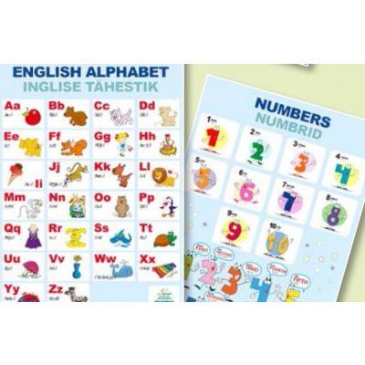 Õppekaart Inglise tähestik/numbrid inglise keeles A4