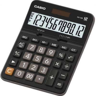Lauakalkulaator Casio DX-12B 12-kohaline, tava- ja päikesepatarei, 180gr, 33,2x129x175,5mm, Standardloogika