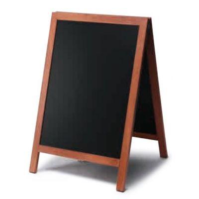 Kriiditahvel must, A-kujuline, 550x850mm/ pruun raam