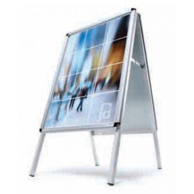 A-kujuline reklaamalus õue STANDARD, kaitsekilega, A1 594x841mm, klappraam 32mm/ ümar nurk, hõbehall