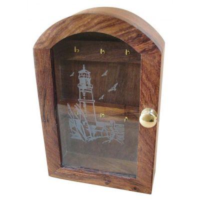 Võtmekapp puidust, 16x6x25 cm, klaasil tuletorn, Merenodi